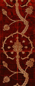 photo of 16th century Spanish or Italian velvet brocaded with metal wrapped threads
