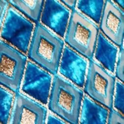 Aqua Diamond Devore velvet fabric/ burntout fabric
