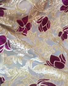 white -magenta flower devore velvet /Burntout fabric
